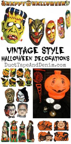 Vintage Halloween decorations and sources for reproductions on http://DuctTapeAndDenim.com