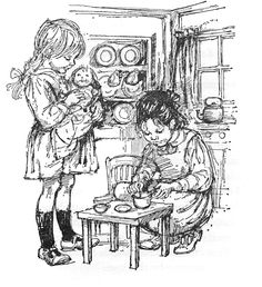 Illustration by Shirley Hughes from 'Mary Kate and the School Bus and other stories' by Helen Morgan. with a doll Paw Patrol Coloring Pages, Baby Coloring Pages, Free Adult Coloring, Dog Coloring Page, Cartoon Coloring Pages, Colouring, Children's Book Illustration, Book Illustrations, Shirley Hughes
