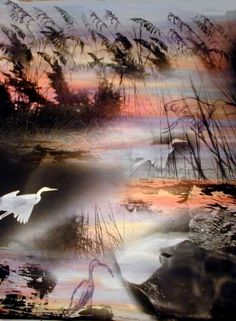"""Heron at Night in Florida . 40"""" x33"""" one of a kind , non digital."""