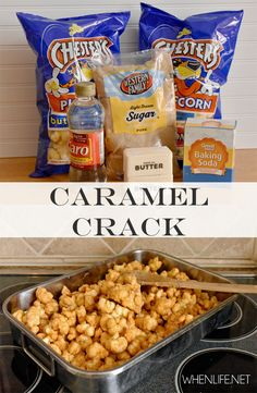 Super simple recipe makes a big batch of caramel goodness! Your whole family will love this quick and easy treat. Snack Mix Recipes, Yummy Snacks, Appetizer Recipes, Delicious Desserts, Dessert Recipes, Yummy Food, Snack Mixes, Appetizers, Yummy Yummy