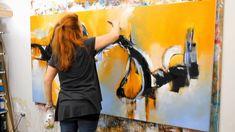 "9-27-11  Abstract acrylic painting Demo - Abstrakte Malerei ""Gedankenschleifen"" b..."