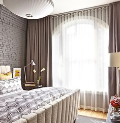 How to Use Dark Curtains to Shape a Dramatic, Cozy Interior Home Curtains, Bedroom Design, Curtains Bedroom, Drapes Curtains, Home Decor, Curtains, Brick Wall Bedroom, Contemporary Curtains, Interior Design