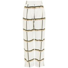 Women's Topshop Boutique Checked Wide Leg Twill Trousers (425 TND) ❤ liked on Polyvore featuring pants, white multi, wide leg trousers, topshop trousers, checked trousers, pleated front pants and white twill pants
