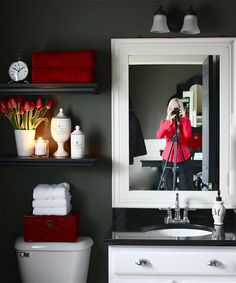 gray, black and red bathroom. | bathroom ideas | pinterest | red