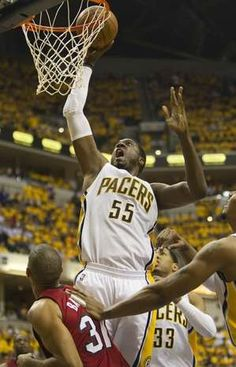 Roy Hibbert puts in two of his nine points, Miami Heat at Indiana Pacers, second round of the NBA Playoffs, Bankers Life Fieldhouse, Indianapolis, Thursday, March 17, 2012. Indiana won 94-75. Robert Scheer/The Star