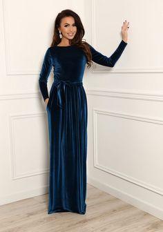 8629a7c16a8d Bridesmaid Party Velvet Dark Electric Dress  Round Neck Long Sleeves  Pockets Waistband Sash Maxi Dress