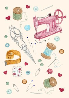 Sewing Art Print by EpoqueGraphics on Etsy Sewing Art, Sewing Crafts, Sewing Projects, Costura Vintage, Sewing Machine Drawing, Sewing Clipart, Gift Maker, Sewing Room Decor, Fashion Wall Art