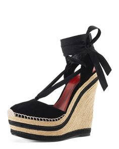 X2GNL Gucci Alexis Lace-Up Espadrille Wedge, Nero