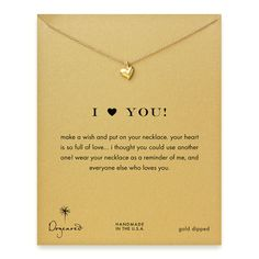 I (heart) you full heart necklace, gold dipped - Dogeared #dogeared #sharethehappy #allthingsheartobsession
