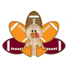 Football Turkey Applique Machine Embroidery Digitized Design Pattern