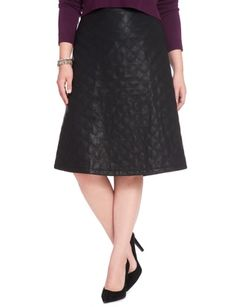 Studio Quilted A-Line Midi Skirt from eloquii.com