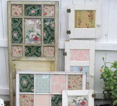 Insert fabric swatches into vintage windows to create a perfect backdrop for a shabby chic/vintage wedding.
