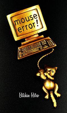 JJ Vintage Brooch Computer Mouse Error Articulated Pin Vintage Retro Kitschy Fun #JJ