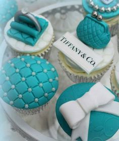 Some gorgeous Tiffany & Co cupcakes. Featuring Patchwork Cutters Quilting tool from PartyAnimalOnline made by Lynette CoCo Brandl. See more of her designs here https://www.facebook.com/cocoscupcakes #elegant #cupcakes #tiffany