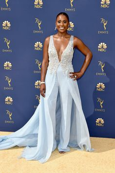 From the best to the worst dressed, here are all of the red carpet styles you need to see from the 2018 Emmy Awards. Award Show Dresses, Gala Dresses, Red Carpet Dresses, Couture Dresses, Blue Dresses, Celebrity Red Carpet, Celebrity Look, Celebrity News, Issa Rae