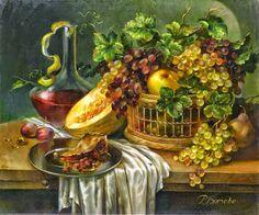 Maher Art Gallery: RIMA VJUGOVEY. STILL LIFES. Dutch Still Life, Still Life Art, Autumn Scenes, Fruit Painting, Decoupage Vintage, Art Moderne, Fruit Art, Arte Floral, Ancient Art