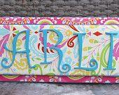 Kumari Garden Nursery, Stacked Name Plaque, Nursery Letters, Fabric Letters, Hot Pink Nursery. $65.00, via Etsy.