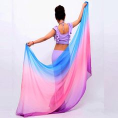 Belly Dancing Veil Gradient Colorful Imitation Silk Soft Shawl Veil 6 colors VU292