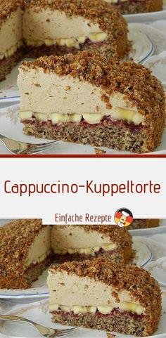 Cappuccino-Kuppeltorte Ingredients for 1  portions of the ground: 150 g sugar 150 g nuts, ground 4 egg (s) 50 g chocolate, grated 50 g flour 2 tl baking powder for the topping: 500 g of cream or cream to beat Chip Cookie Recipe, Easy Cookie Recipes, Brownie Recipes, Cheesecake Recipes, Chocolate Recipes, Strawberry Recipes, Apple Recipes, Quick Healthy Desserts, Bon Dessert