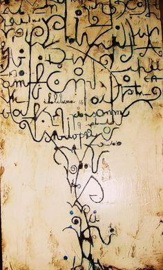 Painting by Vladimiro Lunardon (Italia) via Calligraphy Text, Writing Art, Found Art, Encaustic Art, Letter Art, Mark Making, Mail Art, Oeuvre D'art, Collage Art
