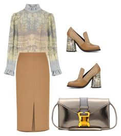"""""""Blouse, Midi-Skirt, Cool Shoes and Bag"""" by lovetodrinktea ❤ liked on Polyvore featuring J.W. Anderson, Philosophy di Lorenzo Serafini, Jaeger, Henri Bendel, STELLA McCARTNEY and Christopher Kane"""