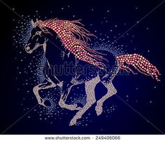 Hand made running horse portrait. Colorful rhinestone pattern. Diamond crystal wild animal on black backdrop. Print design, advertisement, package, book, journal illustration. Baby shop logo element. - stock photo