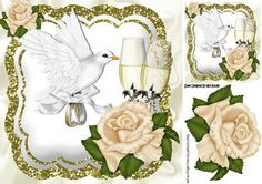 Cream roses and champagne with dove 8x8 on Craftsuprint - Add To Basket!