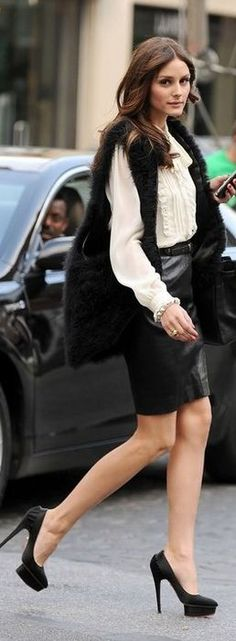 Fur waistcoat, white shirt, pencil skirt and Charlotte Olympia pumps for 9 to 5 chic - Outfit ideas by Olivia Palermo