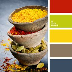Rich contrasting colors like yellow, green, and red will look harmonious provided that you add gray-blue and gray-brown..