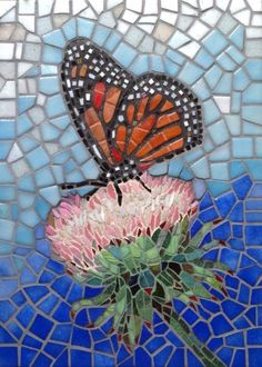 Mosaic butterfly on a thistle flower Mosaic Crafts, Mosaic Projects, Stained Glass Projects, Stained Glass Patterns, Mosaic Patterns, Art Projects, Mosaic Artwork, Mosaic Wall Art, Tile Art