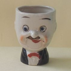 Hardy (from Laurel & Hardy) egg cup. Part of the Egg-Centric Collection, Australia Vintage Egg Cups, Vintage Easter, Egg Coddler, Eggs, Egg And I, Cozies, Famous People, Nest, Kitchens