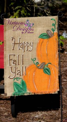 How cute is this Fall Garden Flag! Go check out my. Burlap Garden Flags, Burlap Flag, Burlap Projects, Burlap Crafts, Fall Projects, Fall Crafts, Holiday Crafts, Burlap Wall Hangings, Fall Garden Flag
