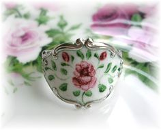 Vintage Beau Sterling Silver Ring Enamel Rose Flower White from thevintageheart on Ruby Lane