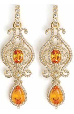 18k gold and diamond mandarin goddess earrings by Erica Courtney
