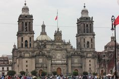 View of the Mexico City Cathedral in Zocalo (main square) - Mexico City