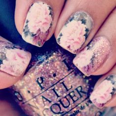 sparkly floral nails