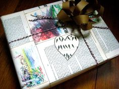 Book pages sewn together. Check out this post at From Scratch for more green gift wrapping ideas!