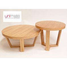 """Mesas """"Redondas"""" en Unimate: dos medidas, en paraíso lustre natural. Más información: http://www.unimate.com.ar/ampliar.php?id=139&c=13#.U07OglV5OSo Hay un juego en entrega inmediata en el local de Palermo."""