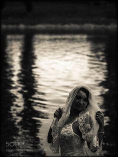Wedding dress veil bride & river by silvijoselman