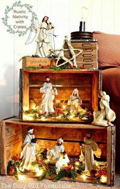 Such A Pretty Way To Display A Nativity. Or then again A Christmas Village Wood Crates. I Like The Idea Of Stacking These To Make A Pseudo Bookshelf For A Rustic Christmas Display, And I Love The Lights Inside, Everything Looks Better Lit Up Noel Christmas, Christmas Projects, All Things Christmas, Christmas Nativity Scene, Christmas Village Display, Christmas Vacation, Outdoor Christmas, Christmas Christmas, Christmas Villages
