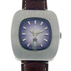 HENRI SANDOZ DAY DATE WATER PROOF AUTOMATIC WATCH  Feature : Center Second, Day, Date, Water Proof, Engrave on Back Cover and Automatic Dial Features : Original Dial Dial Color : Purple Markers : Steel White Arrow Figures Case Material : Standard Stainless Steel Case Crown : Pull Band Type : Leather Hands : Steel White Hands Movement : Automatic Gender : Gents Machine No. : 909 Back No. : 1832-Z-84-8 Jewels : 17