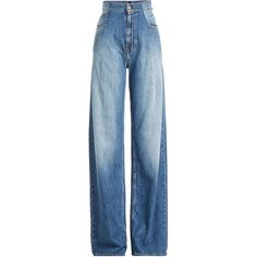 Maison Margiela High-Waisted Wide Leg Jeans (€523) ❤ liked on Polyvore featuring jeans, blue, high waisted jeans, wide leg jeans, maison margiela, denim jeans and maison margiela jeans