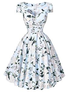 Women Dresses 50s 60s Casual Pinup Retro Dress BP008 Floral Print Short Sleeve Vestido Robe Rockabilly Hepburn Vintage Dress Alternative Measures