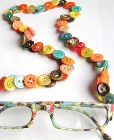 ButtonArtMuseum.com - Eyeglass Chain in Vintage Buttons Turquoise and by MRSButtons on Etsy.
