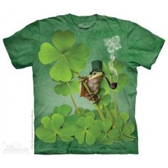 Tricouri The Mountain – Tricou Irish Frog 3d T Shirts, Frog T Shirts, Clover Green, Leaf Clover, Ink Color, Cool Tees, Tshirts Online, Screen Printing, Irish