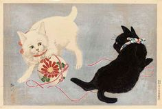 """""""Cats with Ball,"""" by Shotei Takahashi (1871-1945)."""