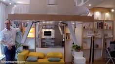 Adaptive space-saving bed snaps into ceiling when not needed--the single would be good for a tiny house Space Saving Beds, Space Saving Furniture, Small Rooms, Small Spaces, Ceiling Bed, Bedroom Ceiling, Pipe Bed, Fold Down Beds, Diy Canopy