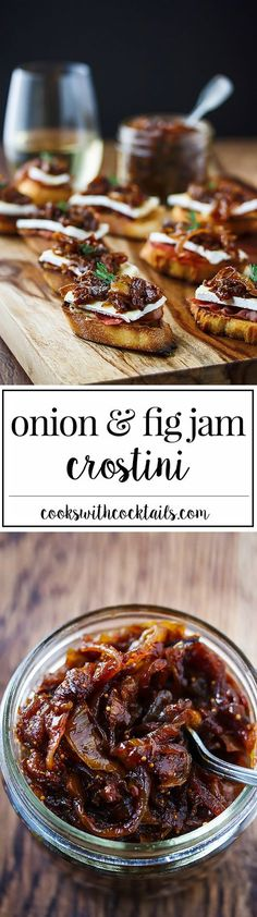 Onion and fig jam with brie, prosciutto and roasted garlic on a crostini makes an impressive appetizer that's just as easy to make for 20 as it is for (Baked Cheese Snacks) Tapas, Fig Recipes, Cooking Recipes, Jalapeno Recipes, Rhubarb Recipes, Dishes Recipes, Party Recipes, Appetizers For Party, Appetizer Recipes
