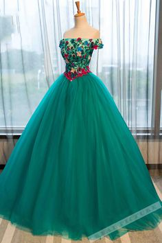 Green tulle prom dress, off the shoulder prom dress