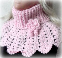 Beautiful pink poncho cochet from the pink Angora , it will warm you up in the cold and complement your outfit, you will love it, because I did i. Crochet Collar, Crochet Poncho, Crochet Scarves, Crochet Baby, Free Crochet, Poncho Shawl, Crochet Stitches Patterns, Knitting Patterns, Crochet Neck Warmer